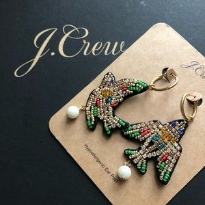 NWT J. Crew Leather-backed beaded bird earrings